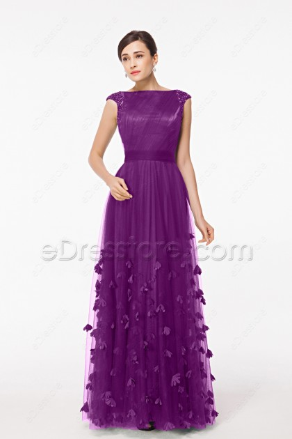 Modest Magenta Mother of the Bride Dresses Cap Sleeves