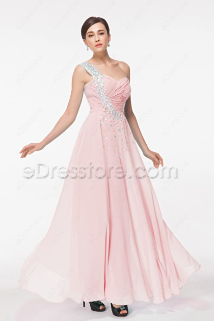 Pink Crystals Chiffon Prom Dress