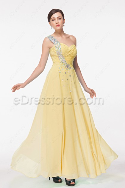 Soft Yellow One Shoulder Crystals Formal Dresses