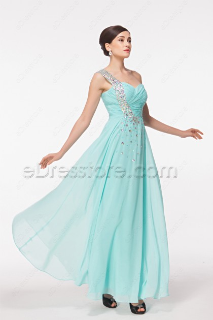 One Shoulder Light Blue Crystals Chiffon Flowing Prom Dresses