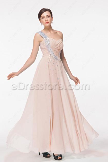 Crystals Peach Maid of Honor Dresses Bridesmaid Dresses Long