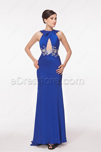 Royal Blue Cut Out Embroidered Mermaid Prom Dresses
