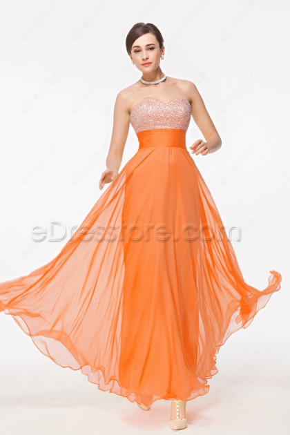 Sweetheart Beaded Sequin Orange Evening Dresses