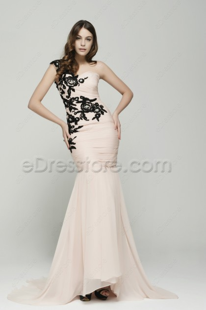 Peach Pink Black Lace Mermaid Prom Dresses Long with Train