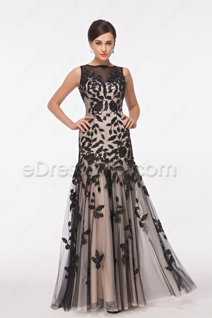 Trumpet Champagne Black Modest Mother of the Bride Dresses