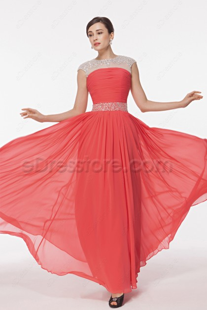 Modest Crystal Coral Prom Dresses with Cap Sleeves