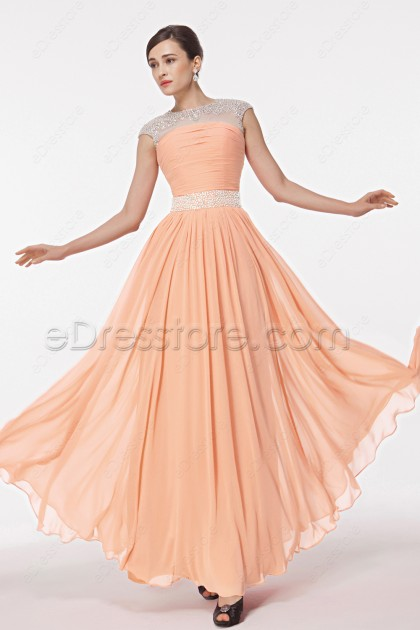 Modest Peach Crystals Maid of Honor Dresses Cap Sleeves