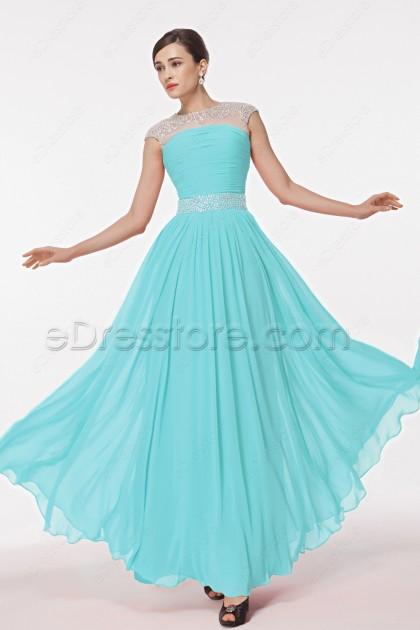 Light Aqua Blue Modest Crystals Prom Dresses Long
