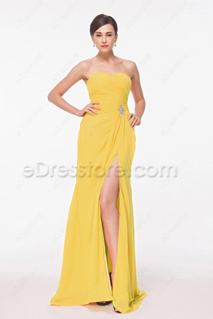 Yellow Long Evening Drsses with Slit