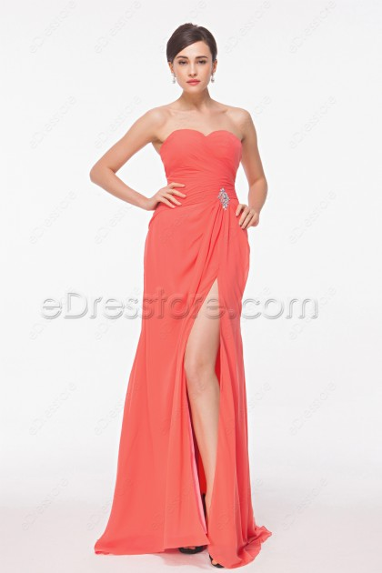 Sweetheart Coral Long Bridesmaid Dresses with Slit