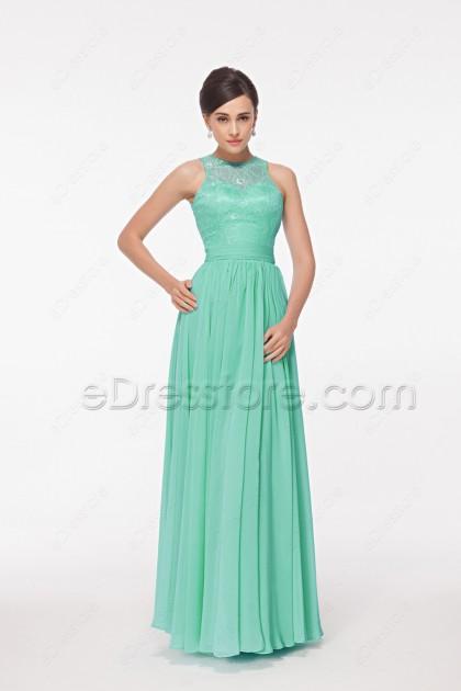 Mint Green Modest Bridesmaid Dresses High Neck