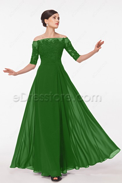 Off the Shoulder Modest Emerald Green Formal Dresses with Sleeves