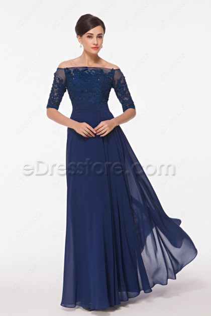 Off the Shoulder Modest Lace Navy Blue Prom Dresses with Half Sleeves