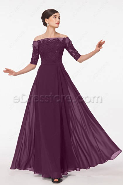 Off the Shoulder Modest Eggplant Mother of the Bride Dresses with Sleeves