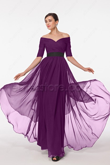 Modest Magenta Maid of Honor Dresses Bridesmaid Dresses