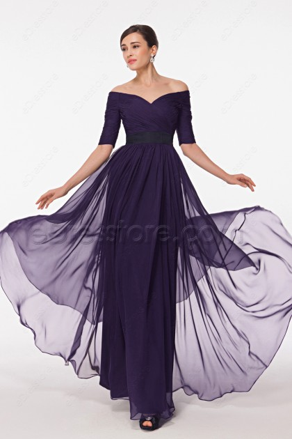 Modest Dark Purple Mother of the Bride Dress with Sleeves