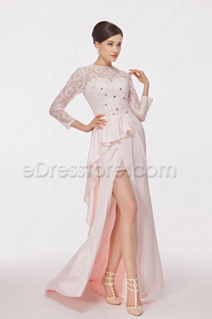 Modest Pink Long Sleeve Prom Dresses with Slit