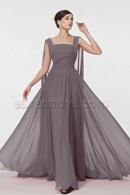 Flowing Pinkish Grey Formal Dresses with Watteau Train