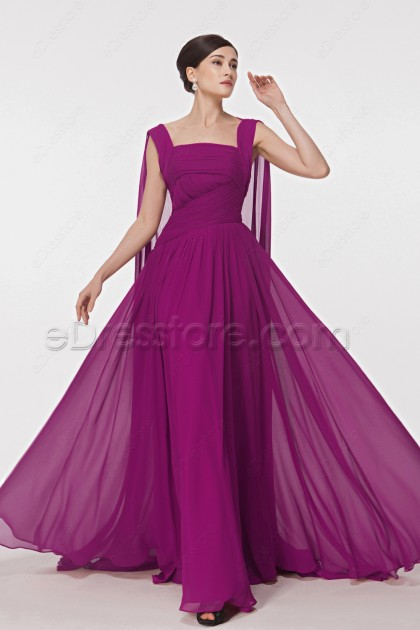 Magenta Maid of Honor Dresses with Watteau Train