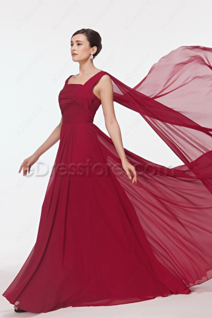 Burgundy Long Prom Dresses with Watteau Train