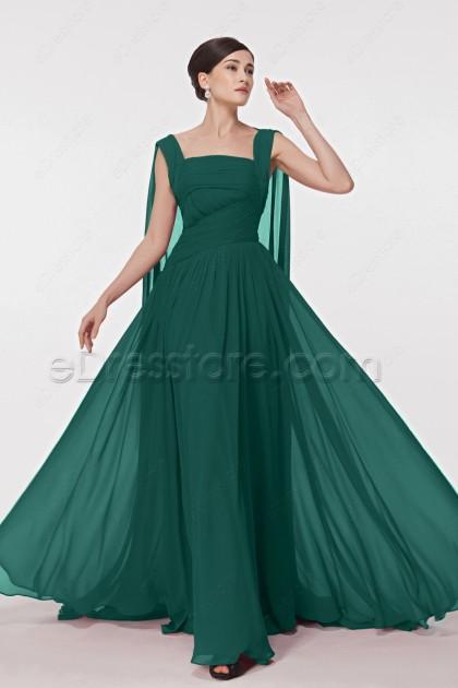 Forest Green Chiffon Prom Dresses Watteau Train
