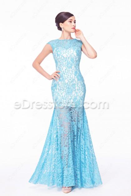 Light Blue Mermaid Backless Prom Dresses Cap Sleeves