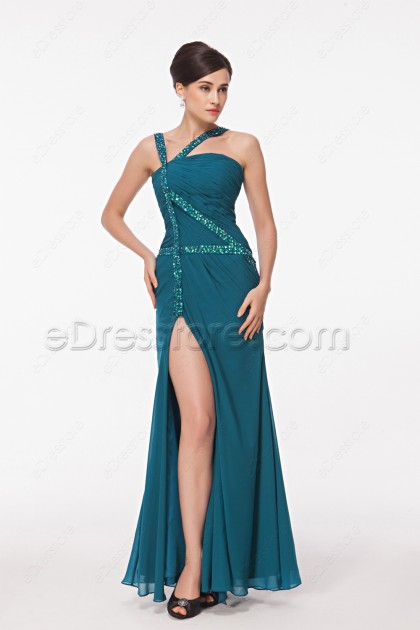 Beaded Straps Teal Evening Dress with Slit