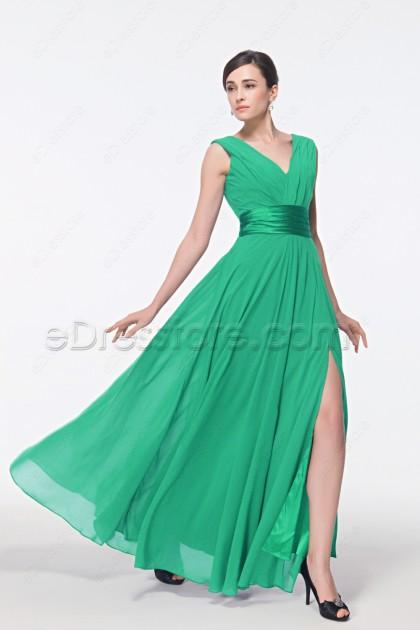 V Neck Green Evening Dress with Slit