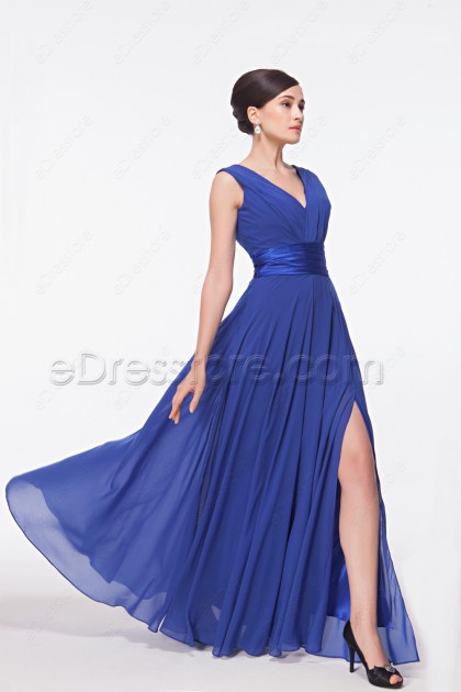 V Neck Royal Blue Long Bridesmaid Dress with Slit