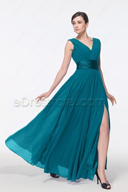 V Neck Teal prom dresses with Slit