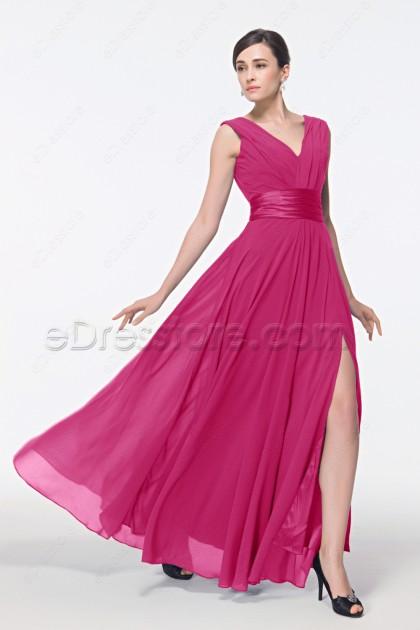 V Neck Hot Pink Long Formal Dress with Slit