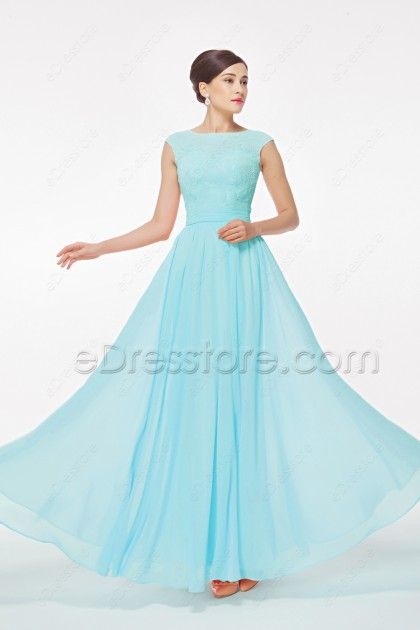 Light Blue Modest Prom Dress with Cap Sleeves