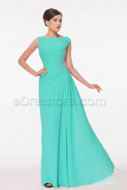 Modest Beaded Mint Green Mother of the Bride Dress