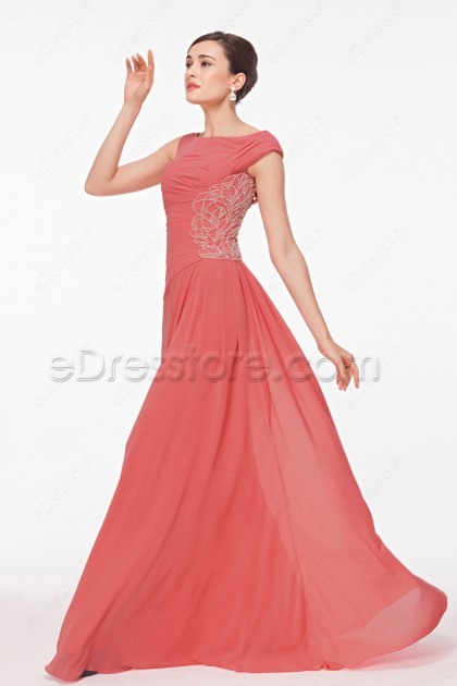 Modest Coral Bridesmaid Dresses Long