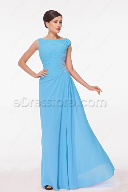 Modest Blue Long Formal Dresses Plus Size