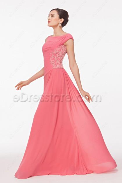 Modest Boat Neck Beaded Pink Prom Dresses