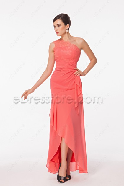 One Shoulder Coral High Low Bridesmaid Dresses