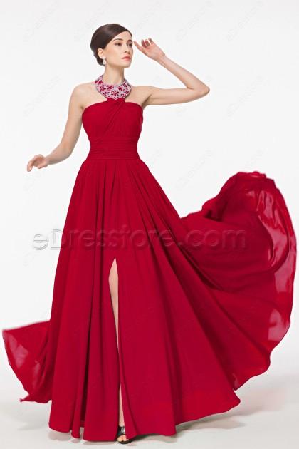 Halter Red Prom Dress with Slit