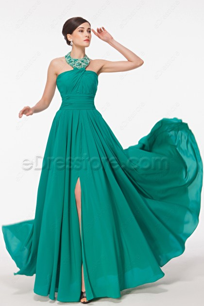 Beaded Halter Jade Green Formal Dress With Slit