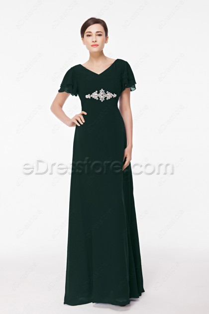 Modest Plus Size Dark Green Formal Dress with Sleeves