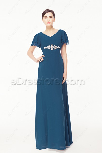 Modest Plus Size Blue Evening Dress with Sleeves