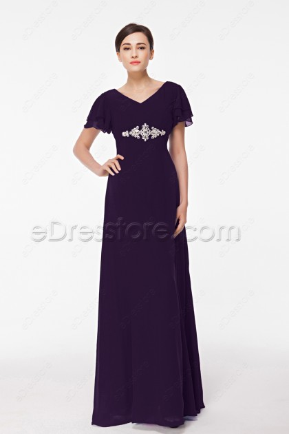 Modest Eggplant Purple Mother of the Bride Dress Plus Size