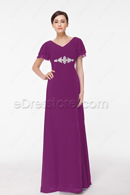Magenta Modest Bridesmaid Dresses with Sleeves