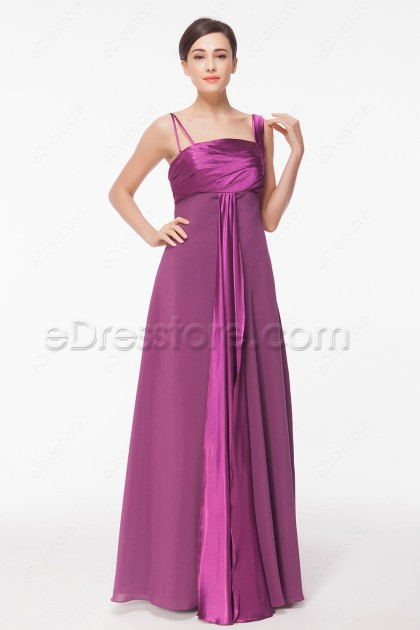 Asymmetrical Magenta Long Autumn Bridesmaid Dresses