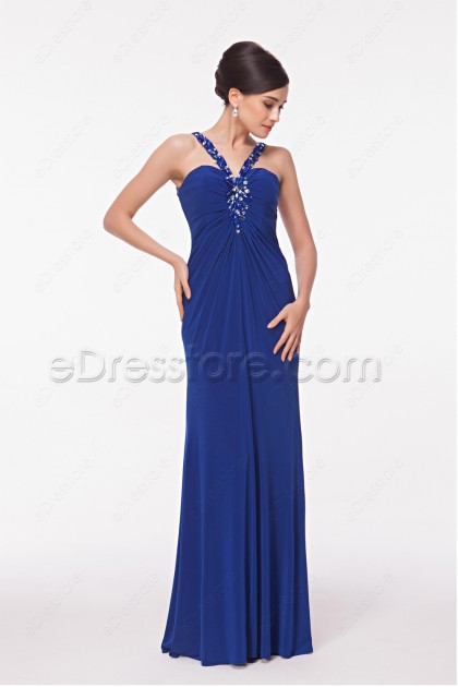 Sexy Royal Blue Stretchy Mermaid Backless Prom Dresses
