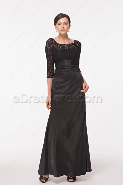 Modest Black Prom Dress with Sleeves
