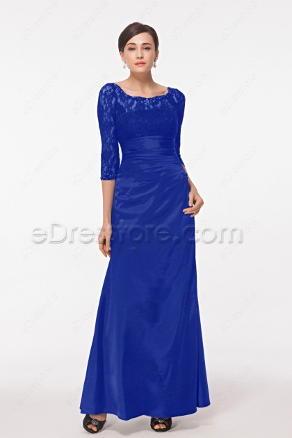 Modest Royal Blue Mother of the Groom Dress with Sleeves