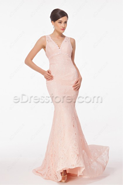mermaid peach pink lace backless prom dress
