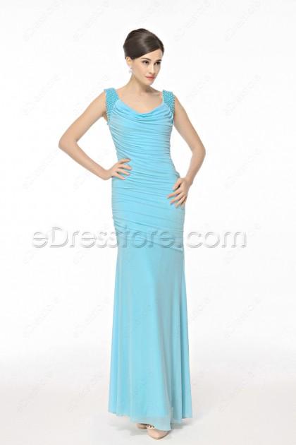 Light Blue Stretchy Mermaid Formal Dresses