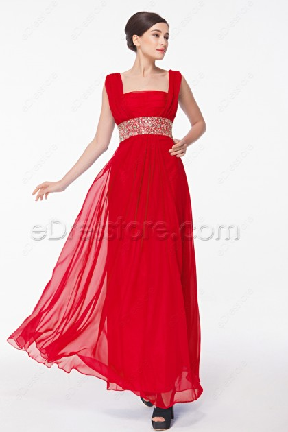 Square Neck Beaded Red Formal Dresses Plus Size